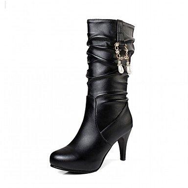 RTRY Scarpe Donna Pu Similpelle Autunno Inverno Comfort Novità Moda Stivali Stivali Stiletto Heel Round Toe Stivali Mid-Calf Imitazione Perla Per US12.5 / EU45 / UK10.5 / CN47
