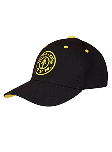 Gold's Gym Cap Curved Peak Hat - Schwarz/Gelb (Fitness-studio-baseball-cap)