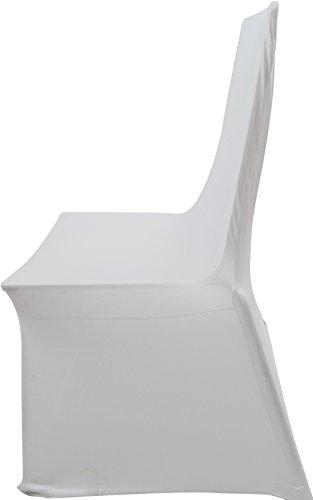 Tinas Collection Stuhlhussen Weiß im 12er Set Stretch Stuhlbezug für Hochzeiten, Sitzbezug Stuhl Design - Hussen Sessel Stühle