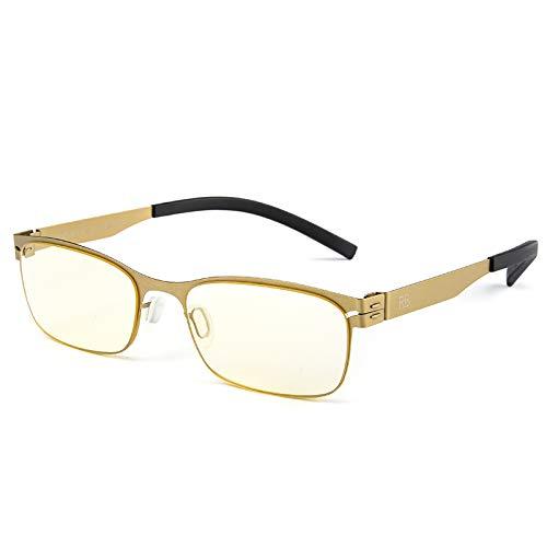 Lesebrille Frame Gold Rechteckige leichte schlankem Metall - Unisex-Lesegerät - Inklusive Tasche und Stoff