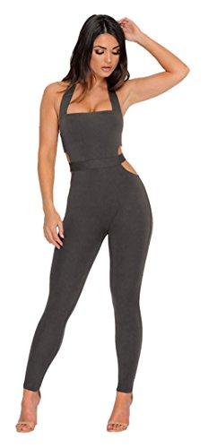 Longwu frauen ärmellose bodysuit schulterfreien rückenfrei elastischen eng anliegende sexy overall Grau-M