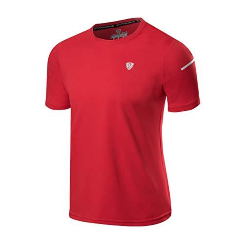 Xmiral T-Shirt Herren Einfarbig Sports Fitness Schnell Trocken Kurzarmshirt Atmungsaktiv Tops Bluse Poloshirt Rundkragen Hemd Sportshirt(Rot,XXL)
