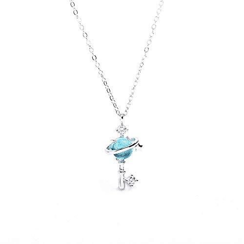 NECCLECS Geschenke für Frauen Halskette S925 Silber Japan Wind Light Blue Planet Anhänger Universum Dream Starry Short Schlüsselbein Kette Geschenkboxen für Schmuck Geschenke Kette Halsketten für Mäd