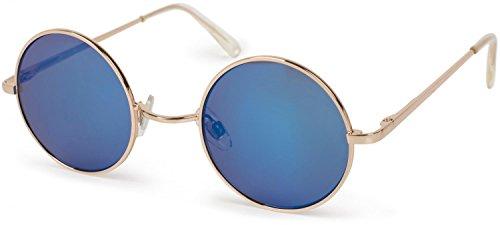 styleBREAKER runde Sonnenbrille mit schmalem Metall Gestell, Retro Design, Bügel mit Federscharnier, Unisex 09020065