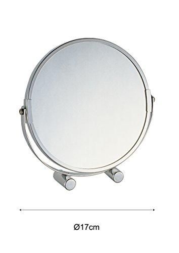 axentia 3-fach Vergrößerungs-Standspiegel in Silber, rostfreier Badezimmerspiegel verchromt, runder Kosmetikspiegel im Durchschnitt ca. 17 cm - 2