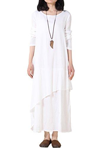Vogstyle Damen Unregelmäßige Schichten Hem Langes Kleid Style 1 (Kleider Holloween)