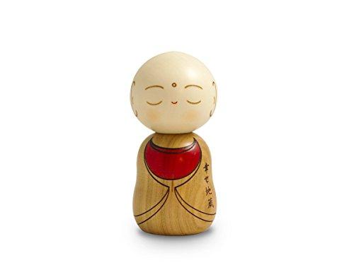 Kokeshi Mönch, Original japanische Holz-Puppe, Handgeschnitzt,von Hand Bemalt. Für Dekoration, als Glücksbringer, Sammlerpuppe und Talisman. Geschenk der Liebe zum Schutz. 11,5 cm