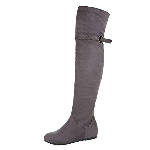 Overknee Stiefel Damen Schuhe Klassischer Stiefel Keilabsatz/ Wedge Keilabsatz Reißverschluss Ital-Design Stiefel Grau, Gr 37, 270-Pg- (Keil Stiefel Hohe)
