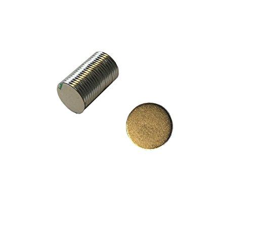 Provance 20 Selbstklebende N35 Neodym-Magnete , Metall, silber, 9,5 x 0,75 mm dick