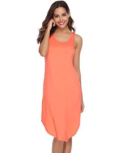 Aiboria Chemise de Nuit Lingerie Femme Coton sans Manche Robe de Nuit Casual Robe Femme Pyjama Femme, Orange, L
