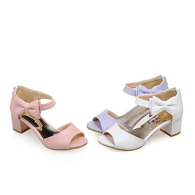 zhENfu Donna Sandali Comfort similpelle esterna di estate Bowknot Chunky Heel arrossendo Rosa Viola Bianco 2A-2 3/4in Blushing Pink