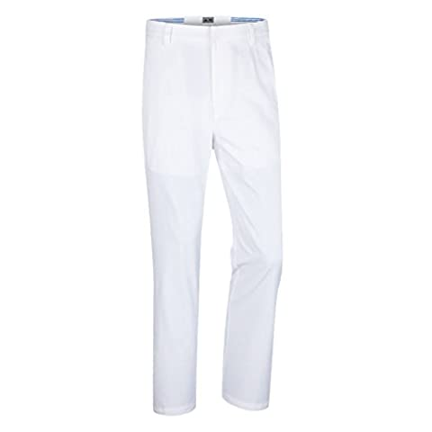 2015 Adidas Puremotion Stretch 3-Stripes Pants Mens Golf Flat Front Trousers White/Black 30x32