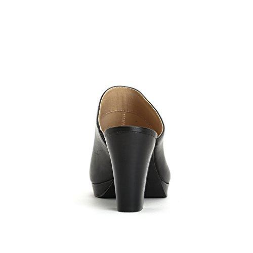ALESYA by Scarpe&Scarpe - Sabot con plateau, in Pelle, con Tacco 8 cm Nero