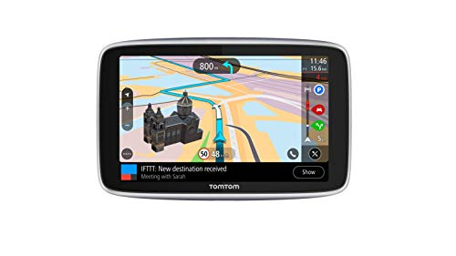 """TomTom GO Navigatore Premium GPS 5"""" Aggiornamenti Tramite Wi-Fi, Mappe del Mondo, Traffico e Autovelox a Vita (SIM Inclusa), Last Mile Navigation e IFTTT"""