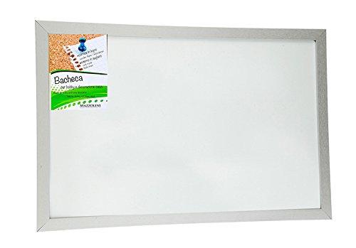 Tableau pense-bête Feutre et Magnétique avec cadre en bois Blanc 60 x 90 cm