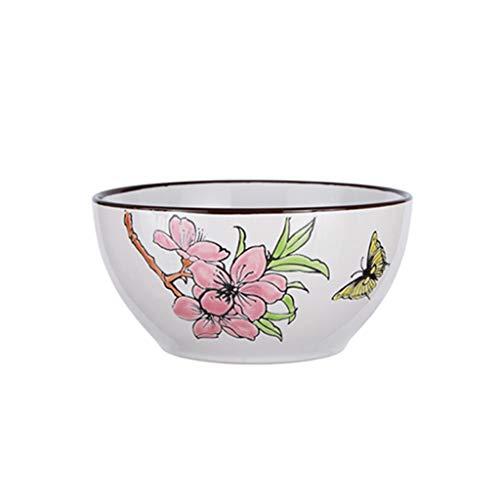 GYY Keramikschale Blume und Vogel Muster Pasta Getreide Suppe Geschirr Obstsalat Tablett 15.4x7.5cm (Vogel Geschirr Muster,)