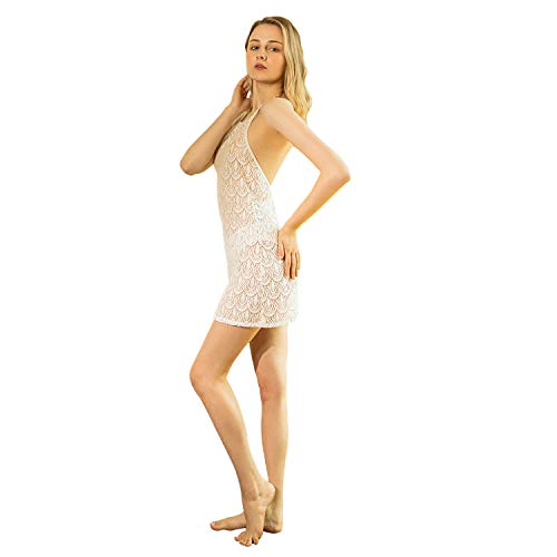 Donna: Abbigliamento Bodystocking A Rete Cavallo Aperto Sexy Bianco White Open Crotch Lingerie Body