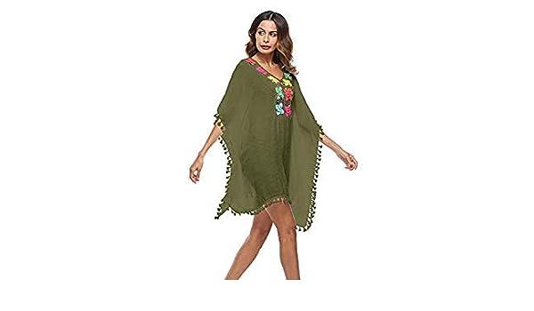 c2a38e2d8553c Saida de Praia Women Beach Tunic Swimwear Pareo Loose Dress Swimsuit Cover  Up Sarong Beachwear Bikini Cover-Up Robe de Plage S05 Color Army Green Size  One ...