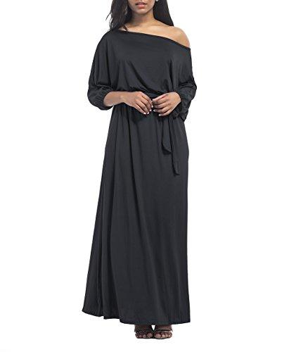 Vestito Spalle Scoperte a Maniche Corte Abiti da Cerimonia Donna Lunghi  Eleganti Estivi Vestiti Linea A 8e9931604b6