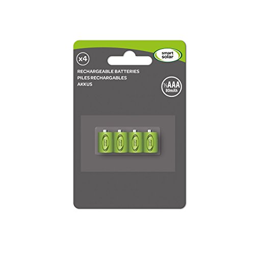 Smart Solar Rechargeable Batteries 1/3 AAA 80mAh- Pack of 4 by Smart Solar Aaa-4 Pack