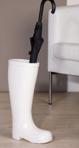 Casa Padrino Designer Schirmständer Stiefel, Höhe 45 cm, edle Skulptur aus Keramik Weiss - Edel & Prunkvoll