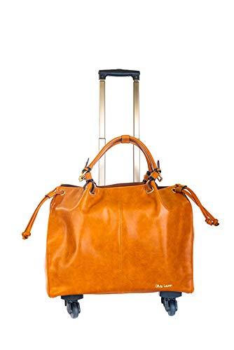 Aktenkoffer Mit Rädern Laptop-taschen (Damen Trolley-Tasche-Aktentrolley-Aktentasche-Aktenkoffer-Braun-4 Rollen-Bowatex)