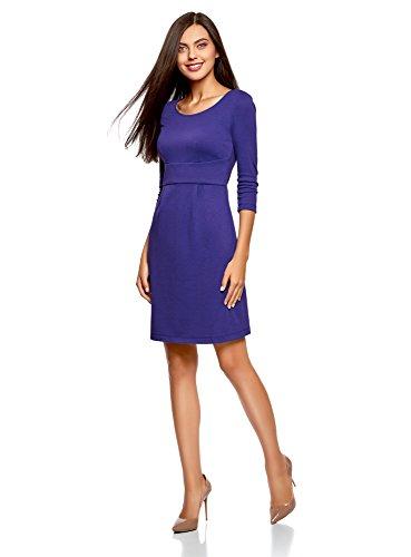 oodji Collection Damen Jerseykleid mit 3/4 Arm Violett (7500N)