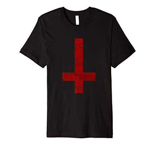 Upside Down satanischen Kreuz-Symbol der Satan T-Shirt (rot)