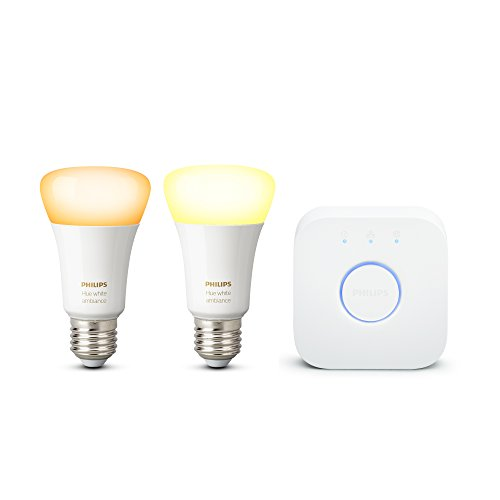 Philips Lighting Hue White Ambiance Lampadina LED E27, 1 Pezzo, 9 W, Bianco [Classe di efficienza energetica A+] + Hue Bridge 2.0 Controllo del Sistema