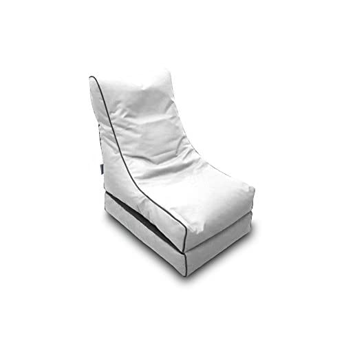 Pufmania Bean Bag Beanbag Lounger Polyester Waterproof 50 x 75 cm Folded/150 x 70 cm Deployed (White)