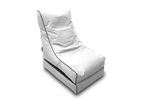 Pufmania Bean Bag Beanbag Lounger Polyester Waterproof 50x 75cm Folded/150x 70cm Deployed (White)