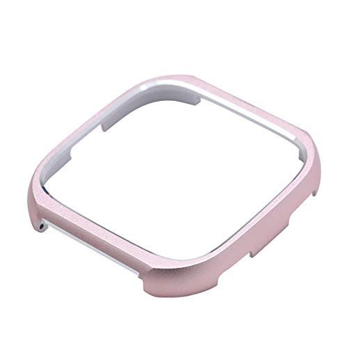 Edelstahl Bumper Schutzhülle Schutzhülle Abdeckrahmen für Fitbit Versa (Rose Gold)