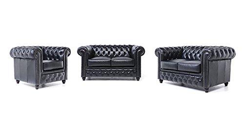 Original Chesterfield Sofas und Sessel – 1 / 2 / 2 Sitzer – Vollständig Handgewaschenes Leder – Schwarz