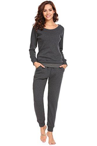 Untlet Damen Schlafanzug Pyjama Set Klassisches Stricken langen Ärmeln Sleepwear, Grau8061, EU 36(Herstellergröße: S) (Aus Baumwoll-jersey-pyjama Set)