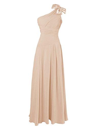 Dresstells, Robe de soirée Robe de cérémonie Robe de demoiselle d'honneur épaule asymétrique une ligne avec fleur Champagne