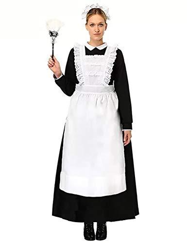 Kostüm Kleid Dienstmädchen - ShiyiUP Vintage Dienstmädchen Kostüm Maid Schürze Kleid Damen Lolita Kleider für Halloween Obtoberfest Karneval Party ,Damen 2#,S