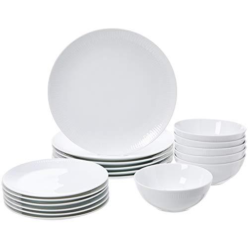 AmazonBasics - Vajilla de 18 piezas, Porcelana blanca con borde, 6 servicios