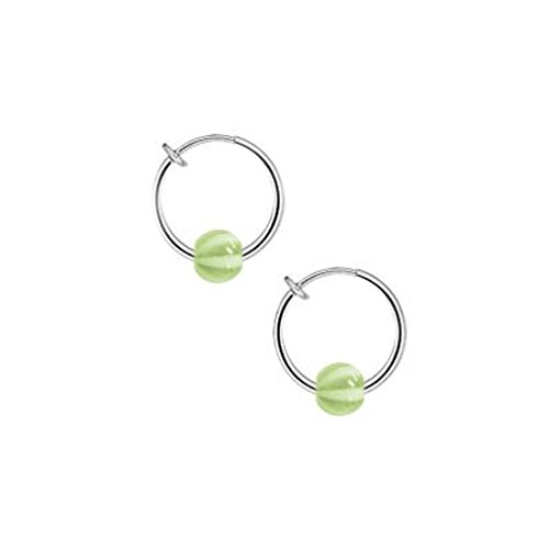 BodyJewelryonline Non Piercing Spring Hoop mit Acryl Green Beach Ball Perlen