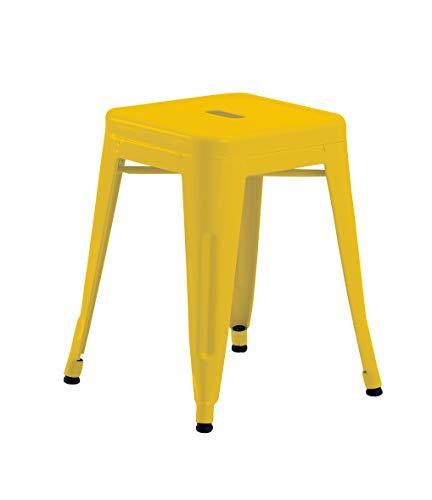 Duhome Eisen/Metall Hocker Gelb Höhe 46 cm Arbeitshocker Stapelbar und Robust Industry Design Farbauswahl 665A