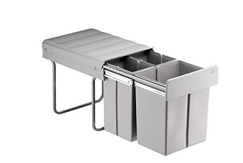 ABFALL-SAMMLER Abfallsammler -Einbaueimer für Unterschränke -Bio-Trio-Maxi 40 DT-40 Liter (20 + 2 x 10),mit Wechselsteg, Vollauszug, ab 400 mm Schrankbreite-Maße: B 338 x T 485 x H 385 mm -Gestell und Eimer Alugrau-WESCO