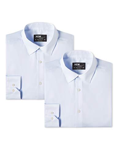 Hem & seam camicia classica regular fit uomo, pacco da 2, blu (sky blue), x-small (taglia produttore: x-small 14.5)(pacco da 2)