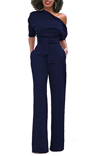 Kissmoda womens one off spalla manica corta pezzo tuta pantaloni pagliaccetto blu scuro medio