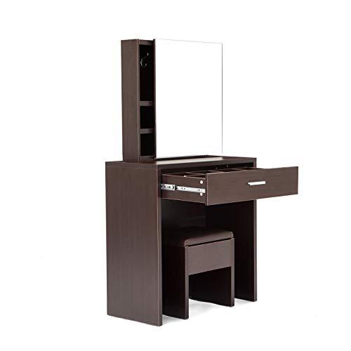 Homypro - Espejo Deslizante con cajón, Estante, tocador y Asiento de cojín, Color Blanco para Dormitorio