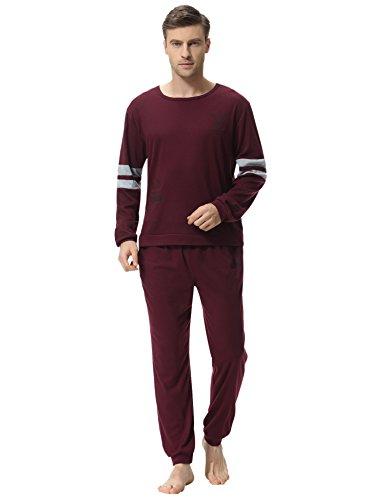 Aibrou set pigiama due pezzi da uomo, pigiama uomo lungo in cotone, maniche lunghe pigiama uomo completino in cotone (large, red-style a)