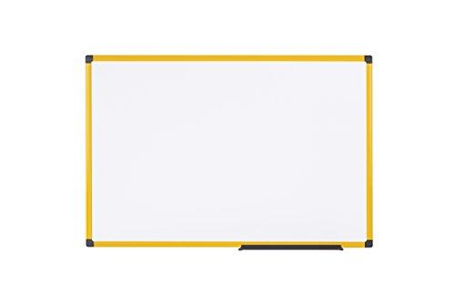 Bi-Office Whiteboard Ultrabrite - 60 x 45 cm - emailliert, mit gelber Alurahmen und Stifteablage