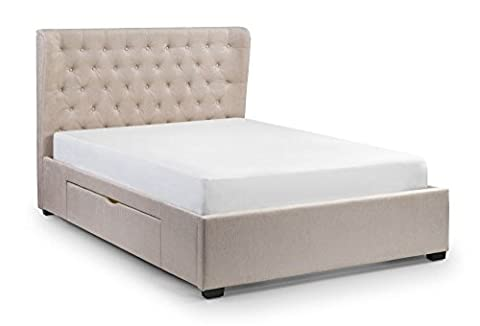 Happy Beds Geneva Winged 2 Drawer Storage Bed Pearl Fabric with Eclipse Pocket Spring Mattress 5' King Size 150 x 200 cm