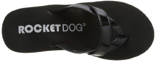 Rocket Dog  Delfina,  Damen Zehentrenner Schwarz - Noir (Summer Patent Black/Orange)