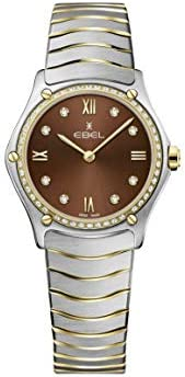 ساعة يد كلاسيكية رياضية 1216464A من الستانلس ستيل بحركة كوارتز سويسرية وذهب عيار 18 قيراط للنساء من ايبيل