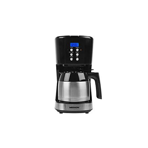 MEDION MD 18088 Kaffeemaschine mit Thermoskanne, 900 Watt, 1 Liter Fassungsvermögen, 8 Tassen, Timer-Funktion, Tropf-Stopp, schwarz - Kaffeemaschine Timer Schwarz Mit