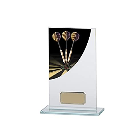 160mm Colour Curve Darts Glass Trophy,Free Engraving (CR4608B)